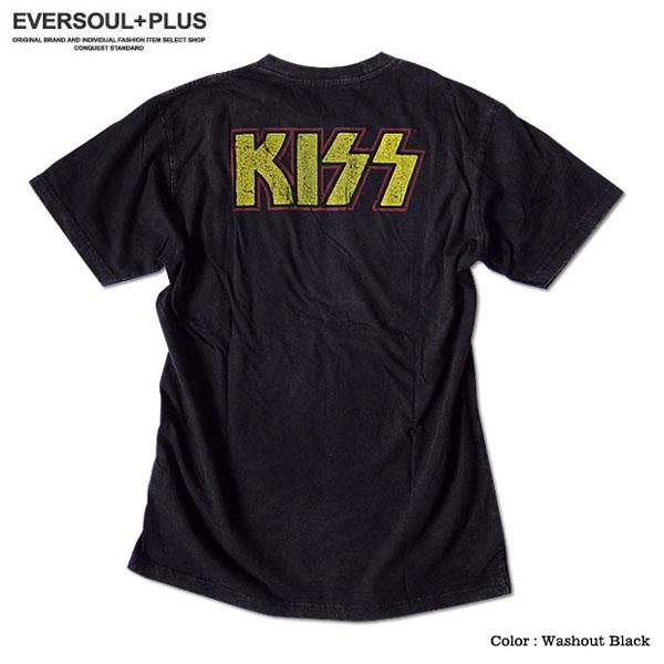KISS キッス Tシャツ メンズ バンド ロック メンバー グッズ ロゴ 金箔 ウォッシュ加工 夏フェス 半袖