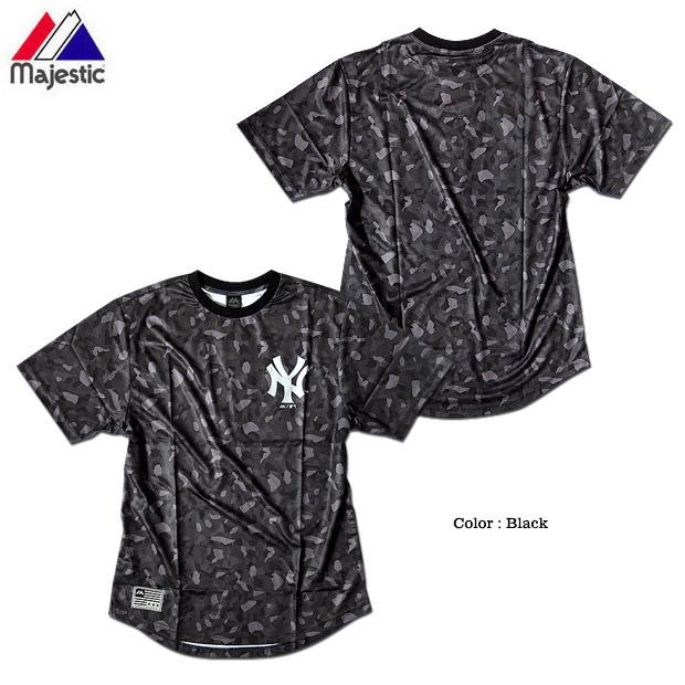 Majestic マジェスティック カモフラ 迷彩 Tシャツ ストリート ダンス 衣装 メンズ ニューヨークヤンキース メッシュ 総柄