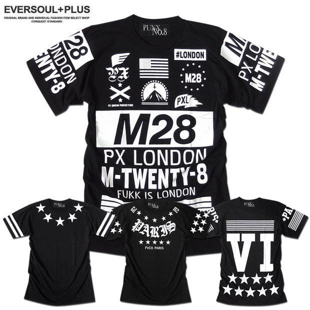 PUNX NO.8 Tシャツ ロゴ プリント メンズ 袖 メッセージ パンク ロック バイカー ファッション バックプリント ブラック 黒 半袖 バンド 衣装