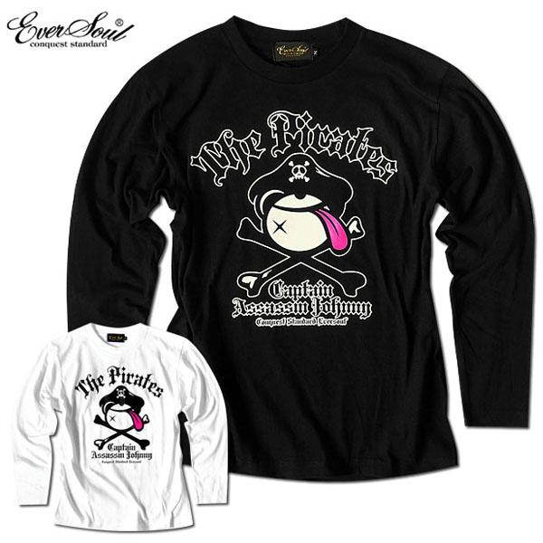 EVERSOUL キャラクター プリント ロンT 長袖 Tシャツ メンズ tシャツ 海賊旗 おしゃれ かわいい 殺し屋ジョニー イラスト 白 黒 ブラック ホワイト 春 秋 冬 バックプリント