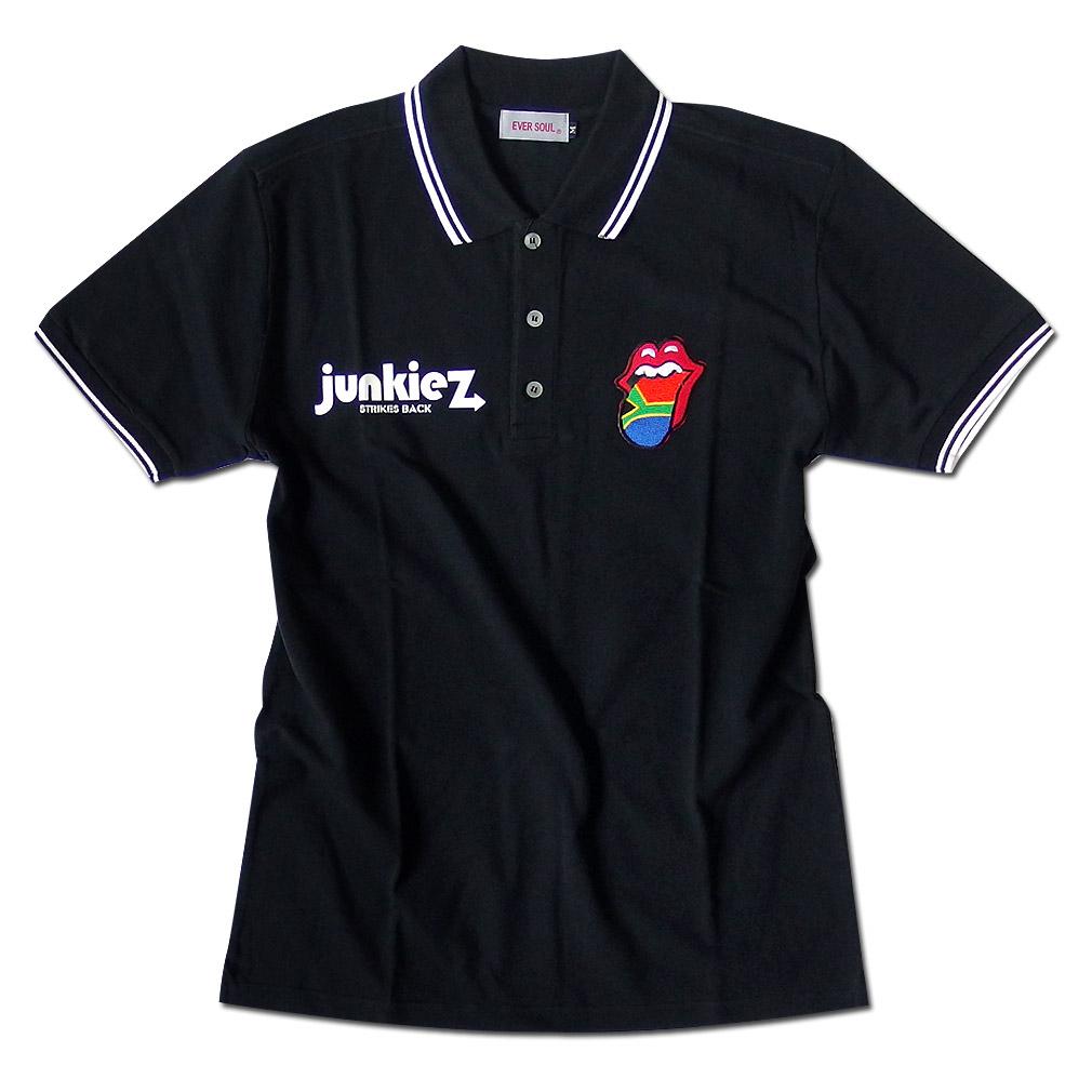 EVERSOUL ポロシャツ メンズ ライン 国旗 ワッペン 刺繍 ブラック 黒 ストリート シャツ 半袖 男性用 ポロ ロゴ