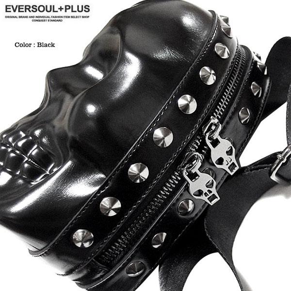 EVERSOUL PLUS SELECT ショルダーバッグ スカル コンパクト メンズ レディース ポーチ バッグ スタッズ ミニショルダー