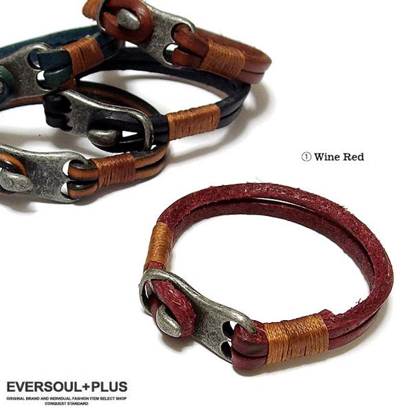 EVERSOUL PLUS SELECT ブレスレット メンズ ブレス 本革 レザー ブラス 真鍮 アクセサリー