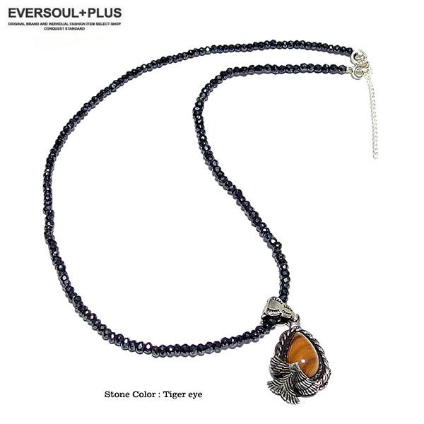 EVERSOUL ブラックスピネル ネックレス メ ンズ 天然石 ストーン チャーム  シルバー925 トップ ターコイズ  ハウライト タイガーアイ