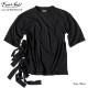 EVERSOUL Tシャツ 五分袖 メンズ 5分袖 モード系 パンク ブラック 黒 レースアップ カットソー ユル系 ルーズシルエット 原宿系 モード系 バンド 衣装