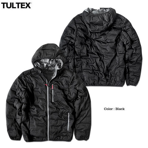 TULTEX 中綿ジャケット ジップパーカー メンズ アウター ジャンパー ジップアップ 厚手 秋 冬 暖かい 黒 ブラック グレー 3L 大きいサイズ