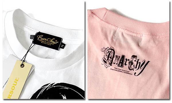 EVERSOUL Tシャツ メンズ ガールプリント 半袖 スナイパー ピストル 女の子柄 キャラクター ホワイト 白 ラメ 杢グレー ピンク Anarchist JAPAN