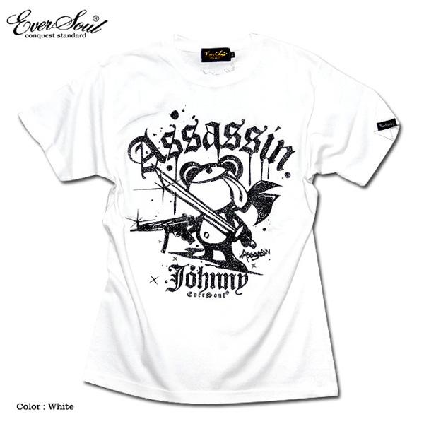 EVERSOUL Tシャツ 殺し屋ジョニー キャラ クター プリント 半袖 メンズ 可 愛い ホワイト 白 ブラック 黒
