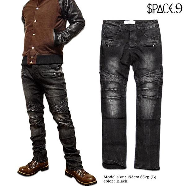 SPACE 9 バイカーパンツ メンズ ブラック パンツ コットン ストレート ス トレッチ ボトムス