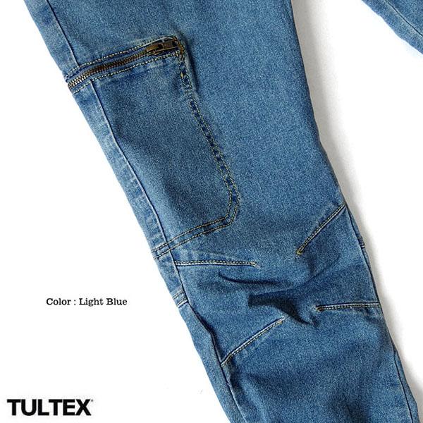 TULTEX デニム カーゴパンツ ジーンズ メンズ ストレッチ 撥水加工 カーゴポケット インディゴ ブルー アウトドア ワークパンツ 大きいサイズ 3L