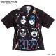 KISS キッス シャツ 半袖シャツ グッズ メンズ ブラック 総柄 プリント 派手 ボタン ハワイアンシャツ アロハシャツ アパレル