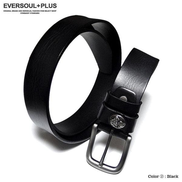 EVERSOUL PLUS SELECT ベルト 本革 レザー メンズ 革 メンズベルト ボタン おしゃれ ビター系 カジュアル