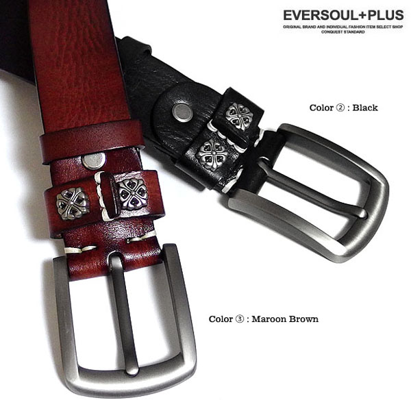 EVERSOUL PLUS SELECT ベルト 本革 レザー メンズ 革 メンズベルト ボタン おしゃれ ビター系 カジュアル ブラック 黒 ブラウン