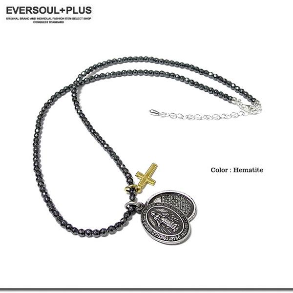 EVERSOUL ネックレス 天然石 メンズ 聖母 マリア 十字架 オニキス ヘマタ イト レッドアゲート