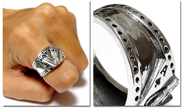 EVERSOUL PLUS SELECT 指輪 シルバーリング メンズ ア クセ シルバー925 リング 平打ち トランプ カード 送料無料 クリ スマス 誕生日 プレゼント ギフ ト