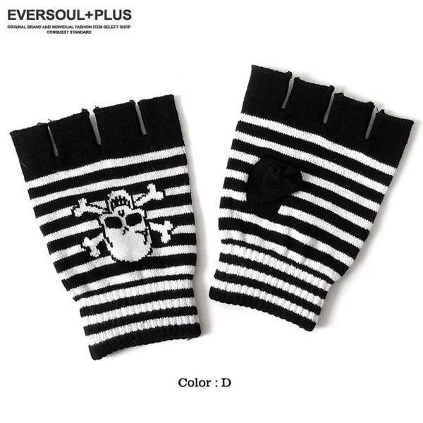 EVERSOUL PLUS SELECT 手袋 指無し スカル メンズ レディース ユニセックス ROCK 骸骨 指穴 オープンフィンガー パンク 原宿系 バンド 衣装 ブラック 黒 フィンガーレス