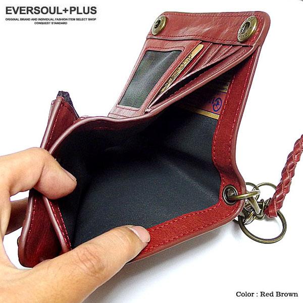 FIFTEEN SIXTEEN 財布 二つ折り財布 メンズ レザー 本革 コンパクト ウォレット 革 ウォレットチェーン 小銭入れ