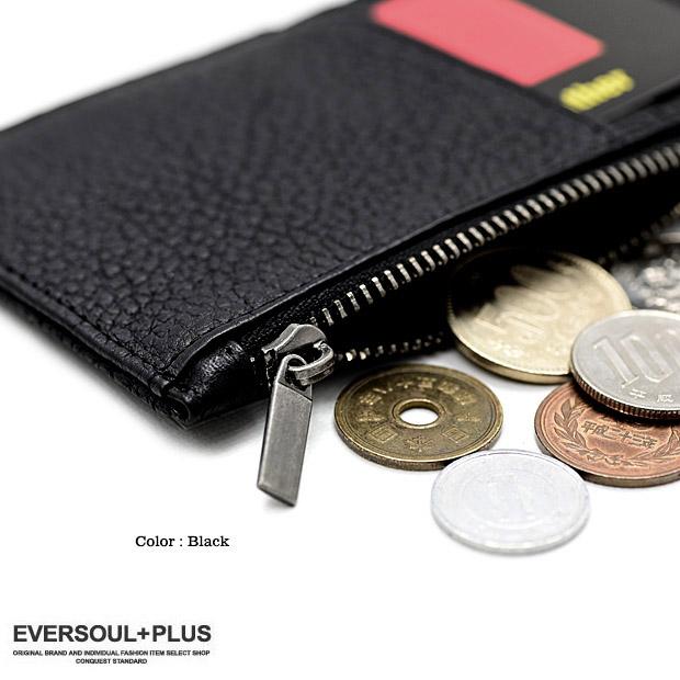 EVERSOUL PLUS SELECT カードケース コインケース 本革 イタリアレザー メンズ コインケース 財布 ファスナー 小銭入れ 小さい 収納 シンプル おしゃれ 男性用
