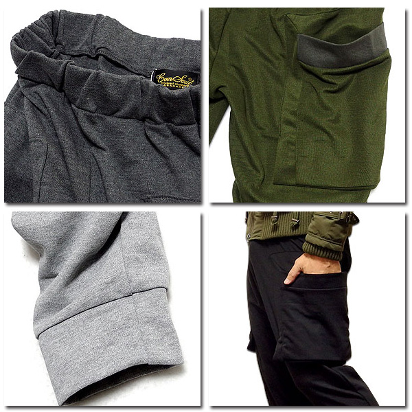 EVERSOUL カーゴパンツ メンズ 鹿の子 カーゴ ポケット パンツ シンプル カジュアル ブラック 黒 杢グレー アメカジ