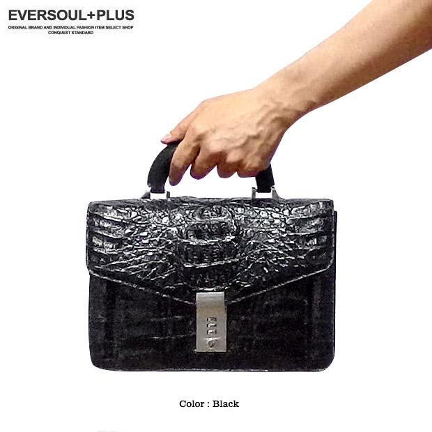 EVERSOUL PLUS SELECT セカンドバッグ クロコダイル 本革 レザー カイマン ワニ 革 ブラック 黒 メンズ バッグ クロコ ダイヤルロック 手提げ