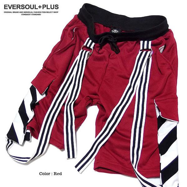 EVERSOUL PLUS SELECT ショートパンツ メンズ スウェット パンツ ダンス 衣装 ハーフパンツ ボーダー ベルト ポケット 個性的 デザイン 短パン