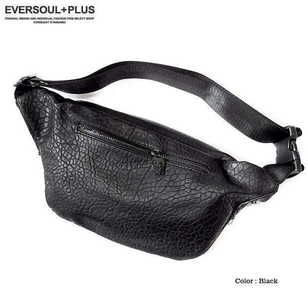 EVERSOUL+PLUS SELECT ボディバッグ メンズ ワンショルダー ウエストバッグ ヒップバッグ スカル スタッズ おしゃれ ジッパー フェイクレザー
