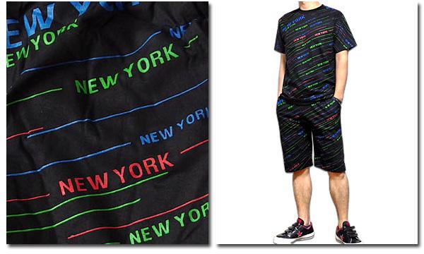 EVERSOUL PLUS SELECT ショートパンツ ハーフパンツ メンズ ブラック 黒 コットン 派手 NEWYORK ロゴ プリント セットアップ対応 ストリート ダンス 衣装 HIPHOP 総柄