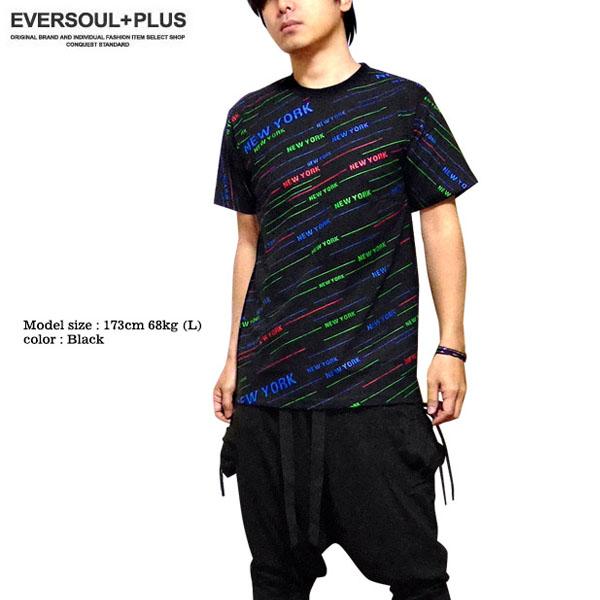 EVERSOUL PLUS SELECT Tシャツ メンズ NEWYORK 総柄 プリント ブラック 黒 ダンス 衣装 派手 ストリート HIPHOP ストライプ セットアップ可能