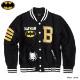 BATMAN バットマン スタジャン メンズ 裏起毛 スタジアムジャケット アメコミ ストリート HIPHOP ライトアウター ブラック 黒 ダンス 衣装 刺繍