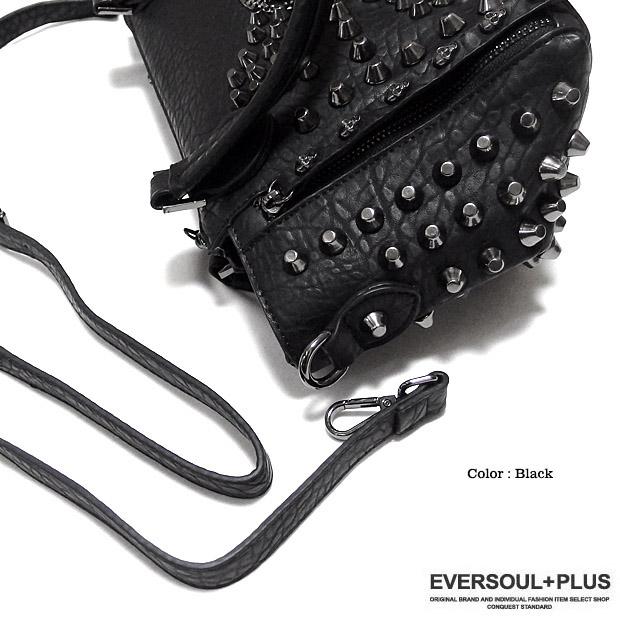 EVERSOUL PLUS SELECT ハンドバッグ レディース メンズ ユニセックス ショルダーバッグ スカル フェイクレザー 2WAY バック ブラック 黒 ロック ゴスロリ ビジュアル系