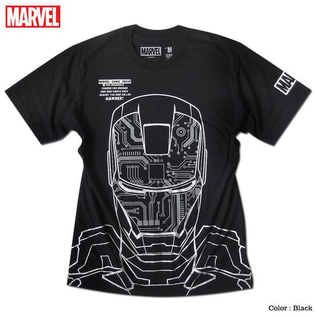 MARVEL アイアンマン マーベル Tシャツ 半袖 プリント キャラクター トニー スターク アメコミ tシャツ グッズ メンズ 黒 ブラック