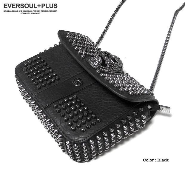 EVERSOUL PLUS SELECT ショルダーバッグ レディース メンズ ユニセックス コンパクト ミニショルダー スカル スタッズ