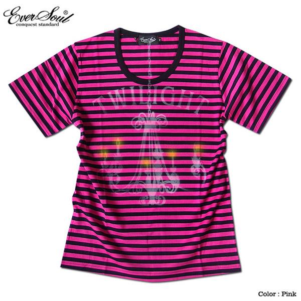 EVERSOUL ボーダー Tシャツ メンズ 日本製 ロゴプリント スプレー Uネック キレイ目 カジュアル 半袖 夏 シャツ 1cm ピンク