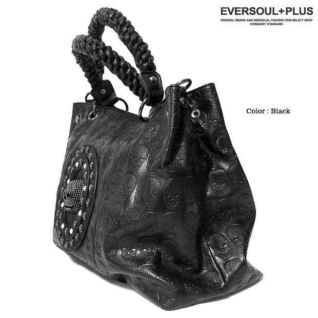EVERSOUL PLUS SELECT ショルダーバッグ 2WAY ハンドバッグ スカル スタッズ トートバッグ 総柄 メンズ レディース ユニセックス