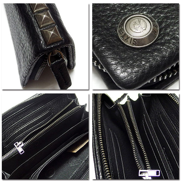 EVERSOUL PLUS SELECT 財布 長財布 男性用 メンズ スタ ッズ ブラック 黒 ビジュアル系  ウォレットチェーン