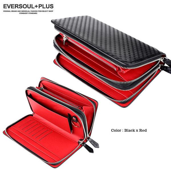 EVERSOUL PLUS SELECT セカンドバッグ メンズ レザー  本革 かばん カバン 財布 バッグ ミニセカンドバッグ ダブルファ スナー