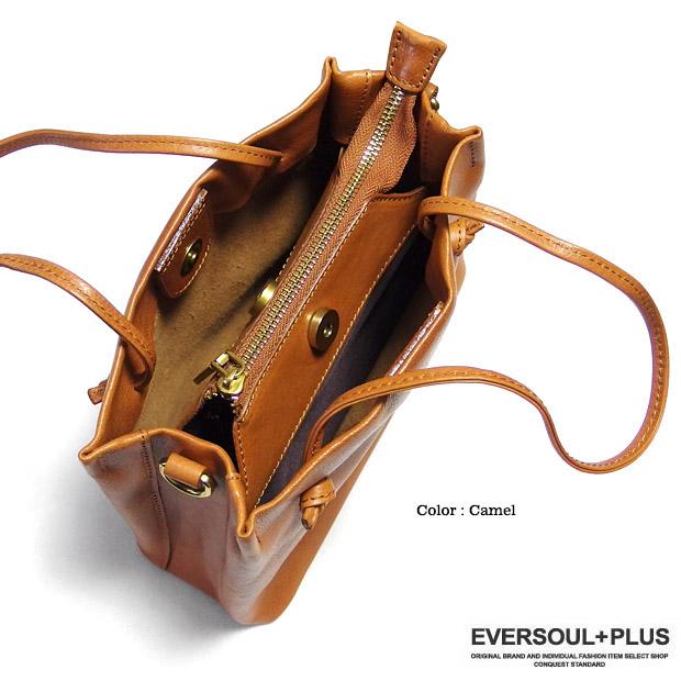EVERSOUL PLUS SELECT ハンドバッグ レディース ショルダーバッグ 2WAY レザー 本革 コンパクト シンプル 小さめ 軽い 斜めがけ