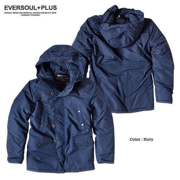 EVERSOUL PLUS SELECT 中綿ジャケット メンズ アウター 防寒 ボリュームネック ジャンパー 厚手 秋 冬 暖かい ナイロン 防風 ミリタリー ジャケット