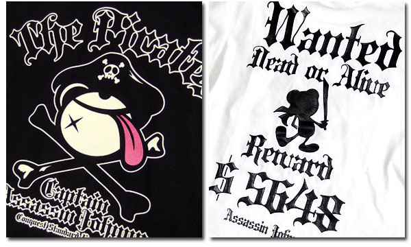 EVERSOUL キャラクター プリント Tシャツ メンズ 半袖 tシャツ 海賊旗 おしゃれ かわいい 殺し屋ジョニー イラスト 白 黒 ブラック