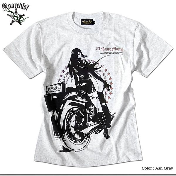 EVERSOUL Tシャツ メンズ ガールプリント バイク 半袖 バイカー 女の子柄 キャラクター ホワイト 白 ピンク tシャツ Anarchist JAPAN