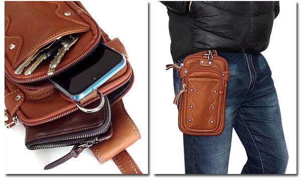 EVERSOUL PLUS ウエストバッグ 本革 レザー カーフスキン メンズ 革 ボディバッグ ヒップバッグ スマホ 財布 収納 おしゃれ