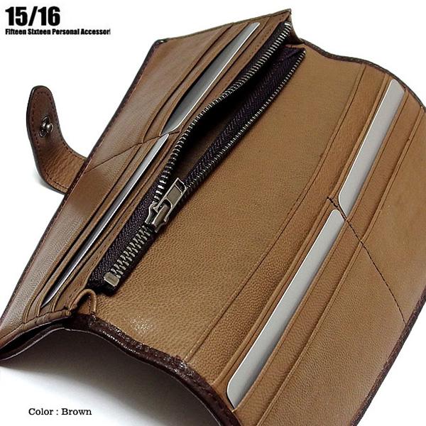 FIFTEEN SIXTEEN 財布 長財布 男性用 メンズ ブラ ック 黒 ブラウン クロコダイル 型押し