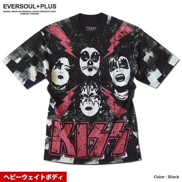 KISS キッス Tシャツ メンズ プリント 厚手 ヘビーウェイト 総柄 バンド 半袖 メンバー イラスト グッズ