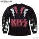 KISS キッス ロンT 長袖 Tシャツ メンズ 袖 リブ プリント 厚手 ヘビーウェイト 総柄 バンド メンバー イラスト グッズ ゆったり オーバーサイズ
