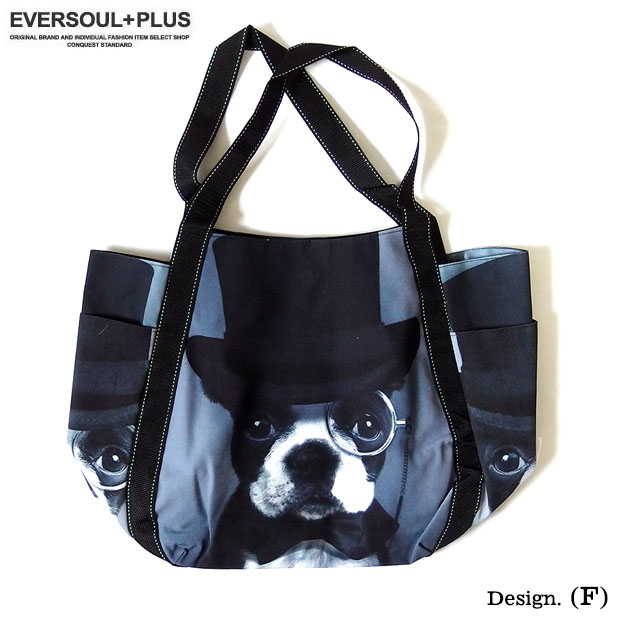 EVERSOUL PLUS SELECT トートバッグ エコバッグ 大きめ 大容量 メンズ レディース 丈夫 総柄 プリント ショッピングバッグ 犬 ブルドッグ