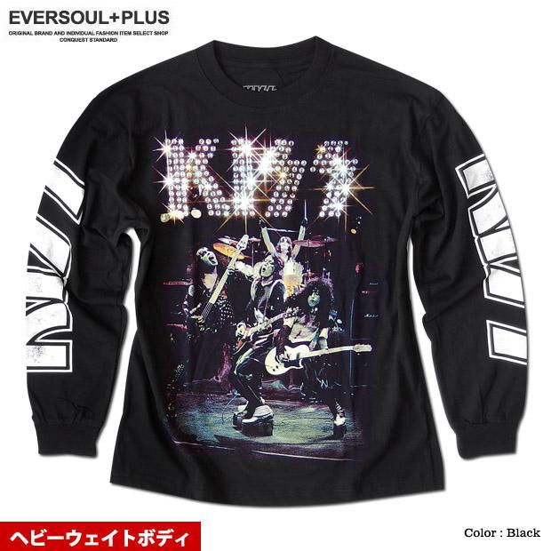 KISS キッス ロンT 長袖 Tシャツ メンズ 袖プリント 厚手 ヘビーウェイト バンドT メンバー グッズ ゆったり オーバーサイズ ビッグシルエット