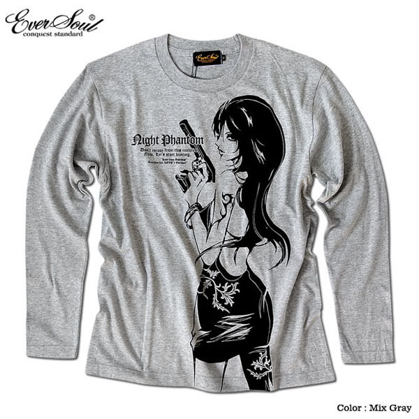 Anarchist JAPAN ガールプリント ロンT メンズ 長袖 ロングTシャツ EVERSOUL コラボ 綿 コットン ホワイト 白