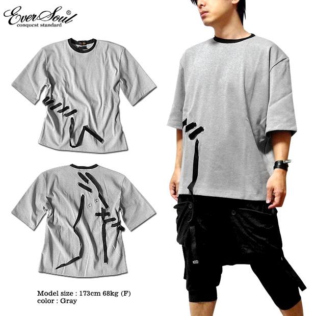 EVERSOUL 五分袖 カットソー メンズ ベルトテープ 5分袖 ワイドシルエット ビッグTシャツ モード パンク