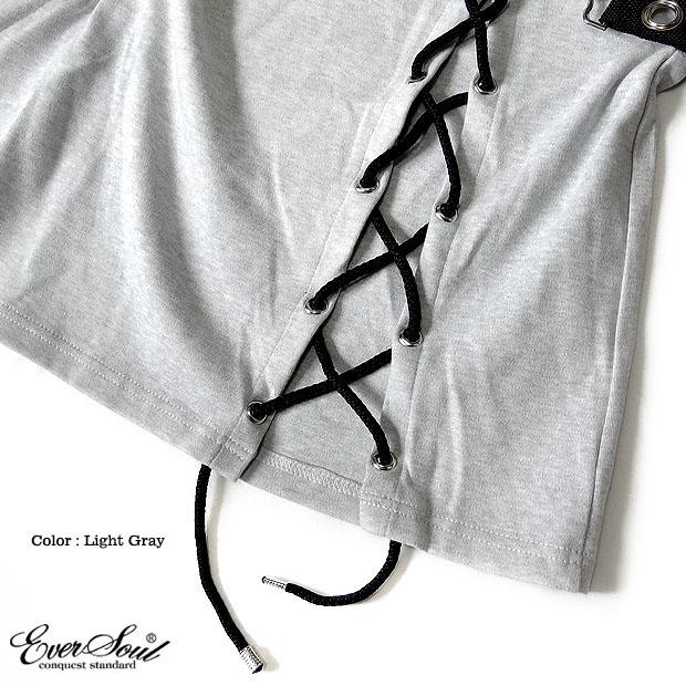 EVERSOUL ロング丈 カットソー メンズ レディース ワンピース レースアップ ビッグTシャツ モード ゆったり バンド 衣装 厚手 ドロップショルダー