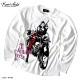 EVERSOUL ロンT 長袖 Tシャツ メンズ ガールプリント バイカー 女の子柄 キャラクター ホワイト 白 ブラック 黒 jb style バイク